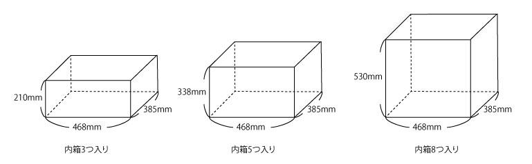 コサージュを届ける段ボールの大きさの種類